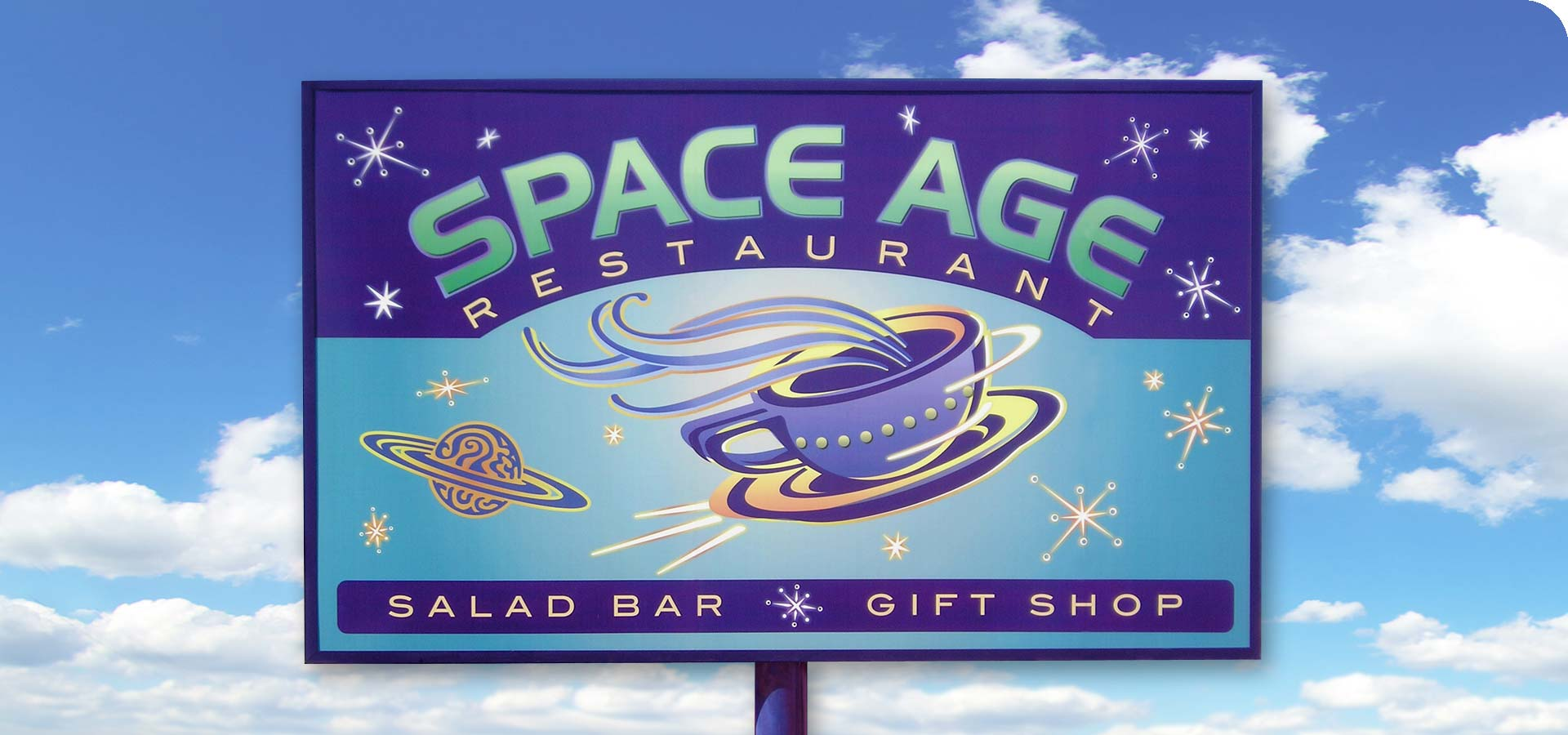 Space Age Lodge Signage Design
