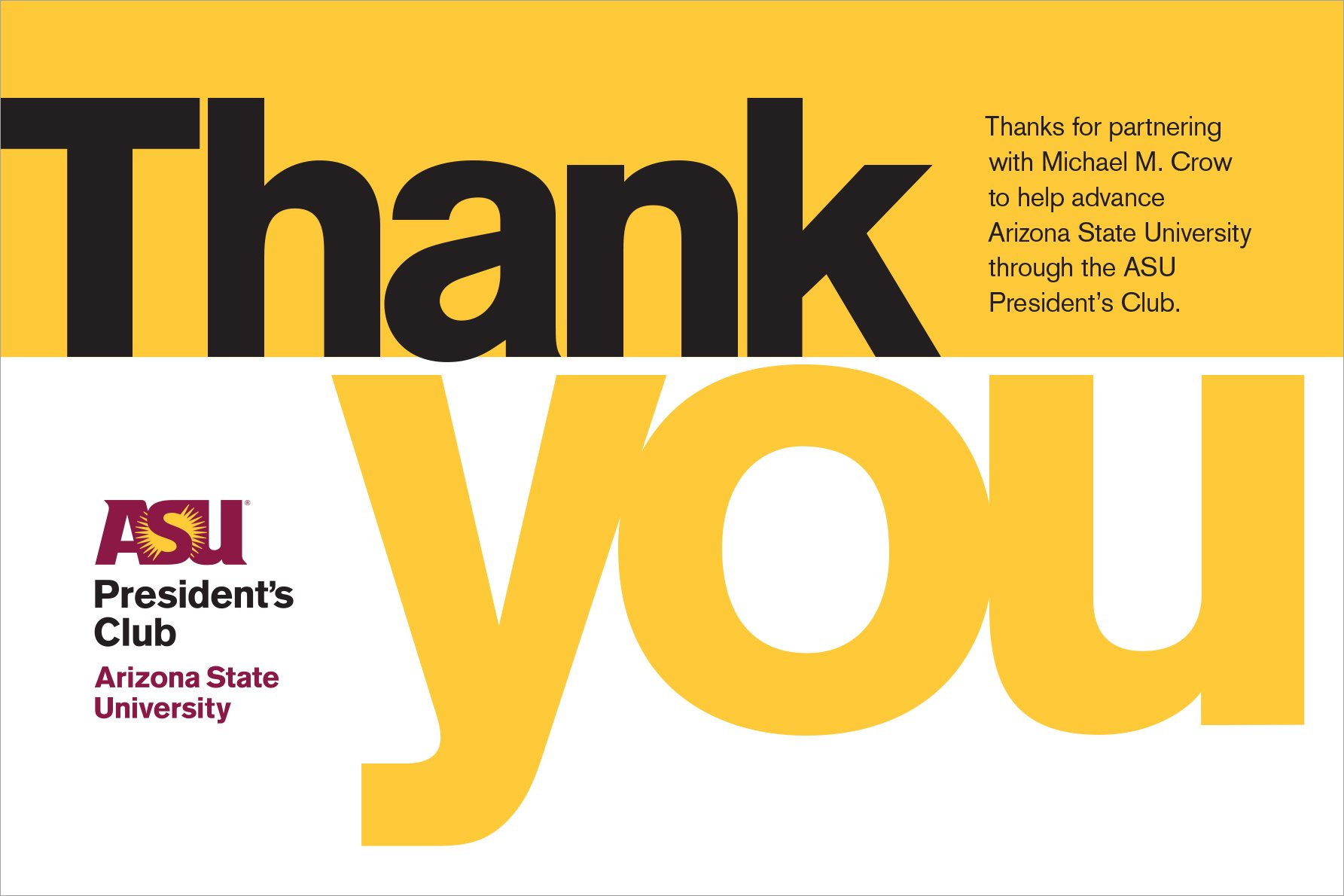 ASU Presidents Club Thank You postcard