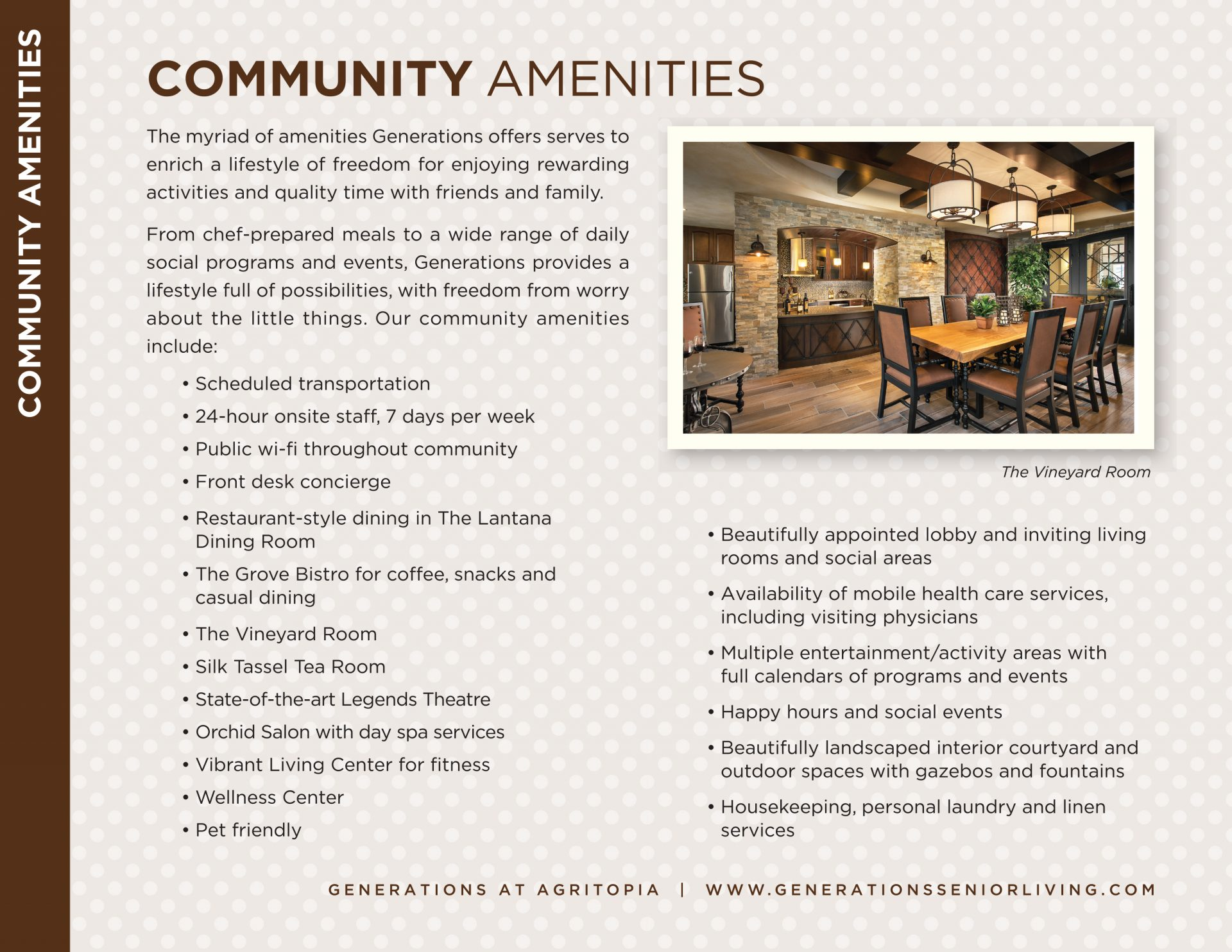Community Amenities insert, Generations at Agritopia, Lori Pasulka