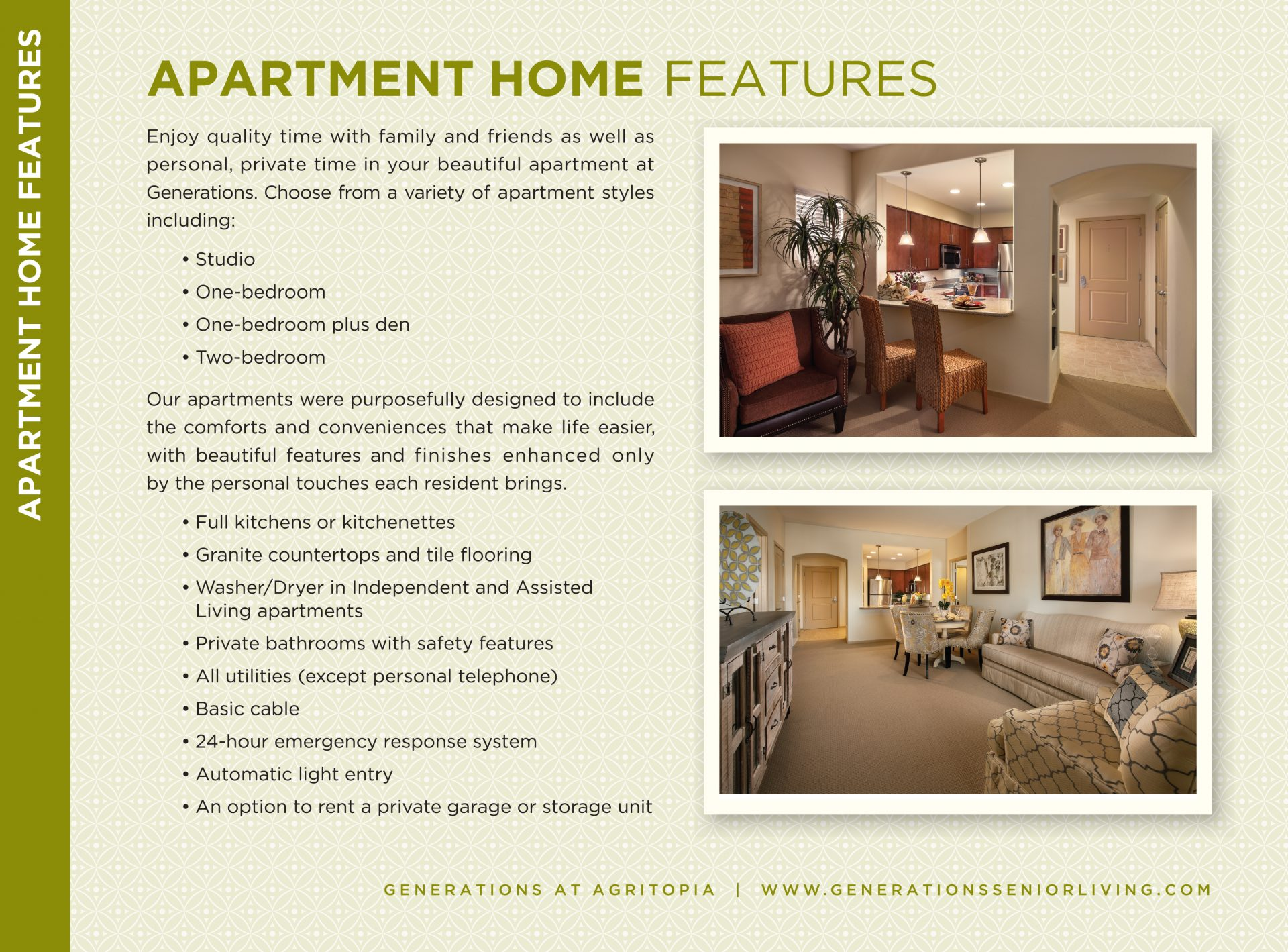 Apartment Home Features insert, Generations Agritopia, Lori Pasulka
